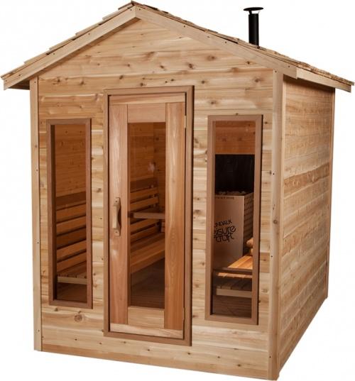 sauna f r den au enbereich gefertigt aus zedernholz. Black Bedroom Furniture Sets. Home Design Ideas