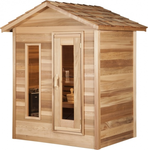 au enbereich infrarot kabine gefertigt aus zedernholz. Black Bedroom Furniture Sets. Home Design Ideas